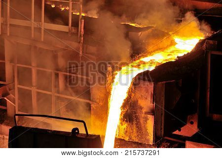 Liquid metal from blast furnace in steel plant