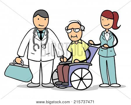 Cartoon of doctor and nurse with senior citizen as patient on wheelchair