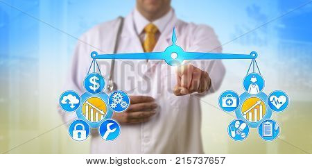 Unrecognizable doctor balancing out cost of digital health system and data security versus improvement of patient care on a virtual weighing scale. Concept for managed IT services in medical sector.