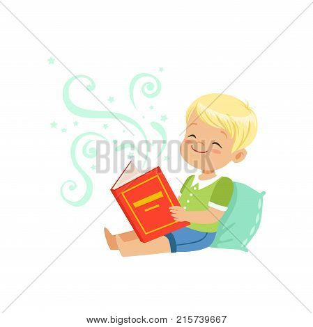 Illustration of little kid sitting on pillow with fantasy book in hands. Cartoon boy character with fabulous imagination. Bedtime stories. Isolated flat vector design for flyer, poster, card or cover.