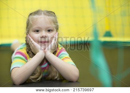 Belarus Gomel November 9 2017. Gomel Children's Center.Preschooler smiles.Preschooler in the gym