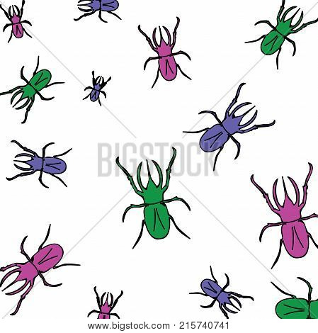 Beautiful texture: animal print - rhinoceros beetle. Insects of different sizes are multicolored: violet, pink, green. Beetles creep in different directions. Stylish bright summer print.
