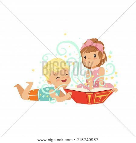 Boy with little girl reading magic book with fantasy stories. Brother and sister characters. Children imagination concept. Isolated flat vector illustration. Cartoon design for card, poster or print.