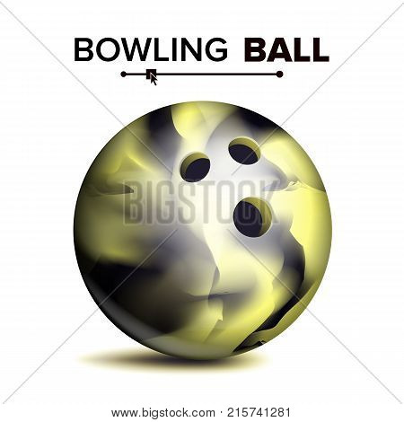 Bowling Ball Isolated Vector. Classic Round Ball. Sport Game Symbol. Realistic Illustration