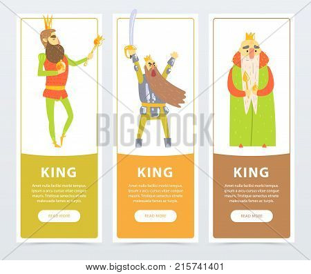 Vertical banners set with different kings cartoon illustrations kind, self-confident with scepter, warlike with sword. Comic characters in flat style. Vector design for website, mobile app or card.