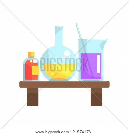Laboratory chemicals in glassware stand on wooden shelf. Flask, beaker and small bottle with lid. Cartoon vector illustration isolated on white background. Colorful flat design icon.