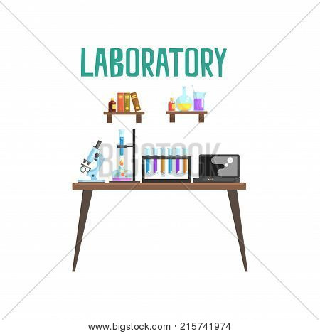 Modern laboratory workplace in flat style. Equipment for scientific experiments and research microscope, test tubes, spirit lamp, laptop. Books and glassware with liquids on shelves. Isolated vector.