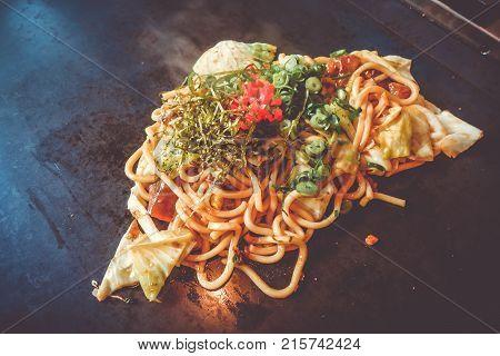 Yakisoba Teppanyaki, Japanese Traditional Hot Plate Food