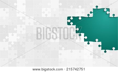 White Grey Puzzles Pieces - Vector Teal Jigsaw Illustration. Scattered Jigsaw Puzzle Blank Template. Vector Background.