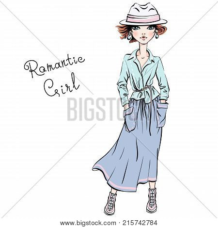 Vector beautiful fashion hipster girl top model in autumn clothes, hat and boots, jacket and skirt