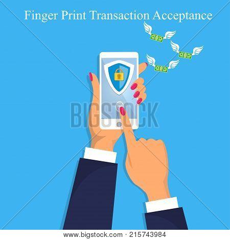 Vector illustration of finger print money trasnaction acceptance. Finger print transaction unlock. Mobile or smart phone authorization