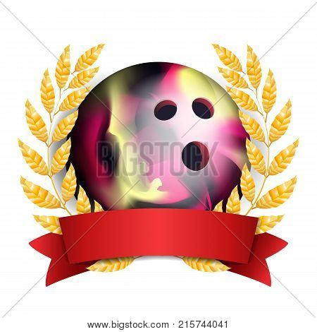 Bowing Award Vector. Sport Banner Background. Ball, Red Ribbon, Laurel Wreath. 3D Realistic Isolated