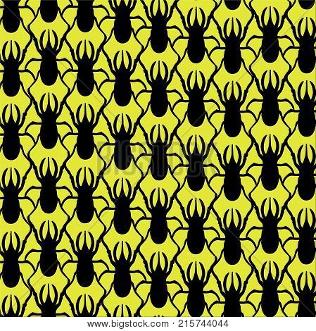 Beautiful texture: an animal print - a pattern from a rhinoceros beetle. Insects are black on a bright yellow background. Beetles creep in different directions. Stylish bright, cheeky pattern for the fabric.