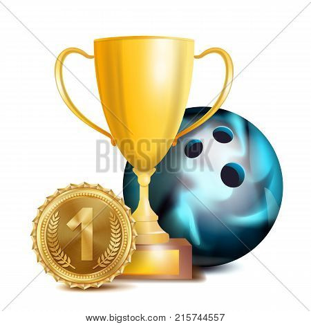 Bowing Award Vector. Sport Banner Background. Ball, Gold Winner Trophy Cup, Golden 1st Place Medal. 3D Realistic Isolated