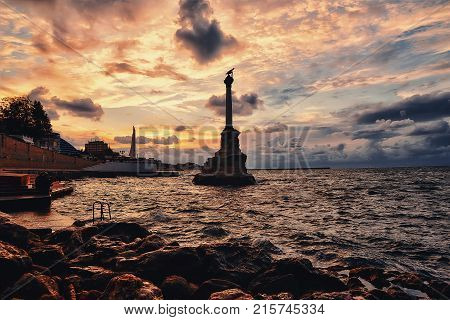 The Monument to the Scuttled Ships at night Sevastopol Crimea city nightlife