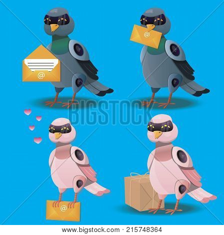 Flying bird with postal envelope. Robot pigeon with mail or emale. Pigeonbot