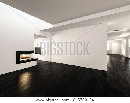 3d Modern spacious unfurnished undecorated room with wooden floor and empty walls