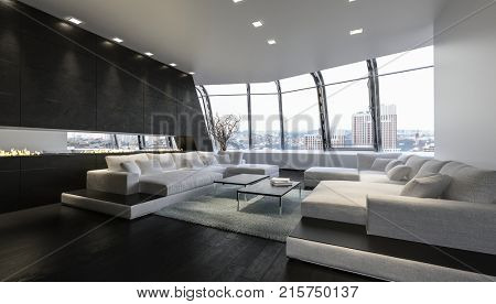 A luxurious and modern penthouse lounge room with large sofas and sweeping views of the city below. 3d Rendering.