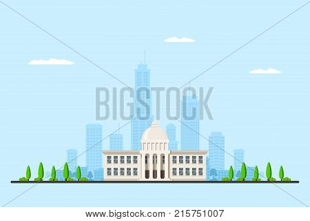 Picture of a city hall building with big city sillhouette on background. Urban landscape. Flat style illustration.