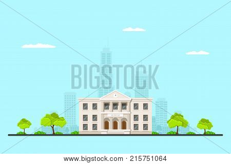 Picture of a museum building with big city sillhouette on background. Urban landscape. Flat style illustration.