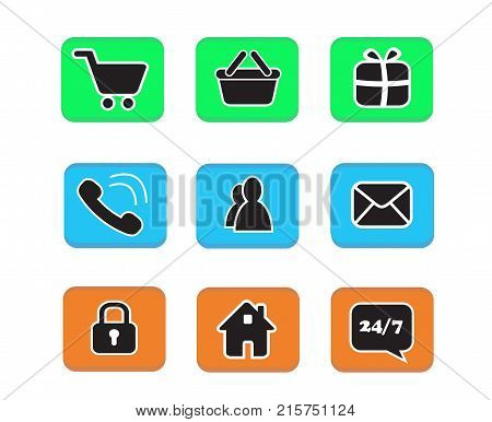 Set Of E-commerce Icon Web Button Icons Contact Symbol Collection Black And White On Blue Green And