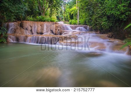 Mae Kae 2 (Kaofu) waterfall the Most Famous in Lampang Thailand. Beautiful silky waterfall flow through stones. Mountain stream running over rocks.