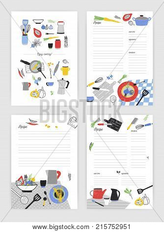 Set of vertical card templates for making notes about cooking homemade meals and food preparation. Blank recipe book pages decorated with kitchen utensils, ingredients and spices. Vector illustration
