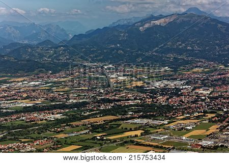 Aerial view to foothills of Bergamasque Alps near Bergamo, Italy