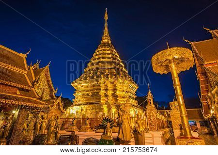 Pagoda at Doi Suthep temple the most famous landmark of Chiang mai province Thailand.