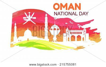 Oman National Day symbol with country flag with silhouettes of mosque and other traditional architectural objects vector illustration on white background