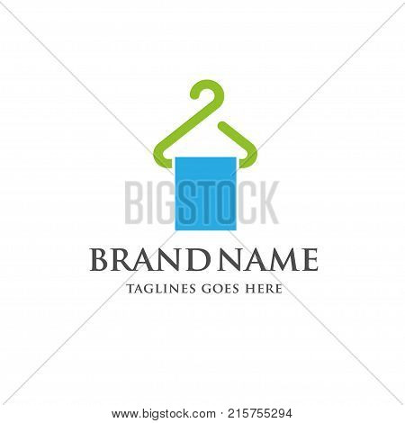 Hanger line logo vector,wiping towel on a hanger logo