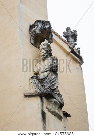 Sighisoara Romania October 08 2017 : Statue on the facade of the Church of the Deal (St. Nicholas) in the castle in Old City. Sighisoara city in Romania