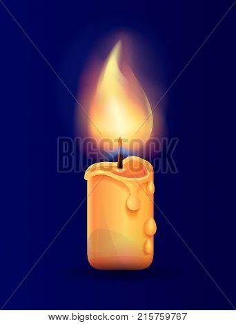 Burning candle in realistic design vector illustration isolated on blue background. Ignitable wick embedded in wax used to provide heat