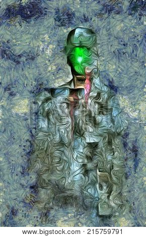 Surreal painting. Man in suit and bowler hat with green apple instead of his face. Magritte style. 3D rendering.