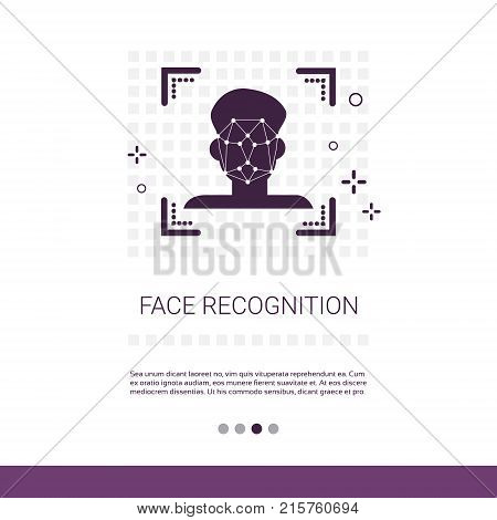 Face Scan System Recognition Biometric Identification Concept Web Banner With Copy Space Vector Illustration