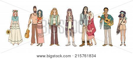 Collection of young hippie men and women dressed in loose ethnic clothing. Bundle of flower children. Set of male and female hand drawn characters isolated on white background. Vector illustration