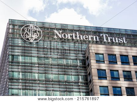 LONDON, UK - JANUARY 30, 2016: Logo or sign for Northern Trust bank on side of office building in Canary Wharf, Docklands, London, England