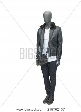 Full-length male mannequin dressed in warm coat isolated on white background. No brand names or copyright objects.
