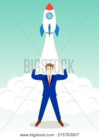 Business Concept As A Full-Energy Muscular Businessman Is Standing In Front Of Launching Rocket. It Means Strength Of Self Performance Is Readiness For Initiate New Business Start Up Introduction.