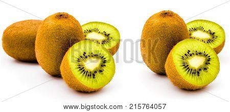 kiwi collection. half cut and whole kiwi fruit isolated on white background. Set of kiwi for product or package design element