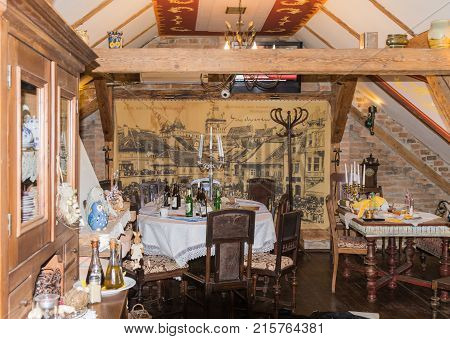 Sighisoara Romania October 08 2017 : Decoratively decorated room in a Medieval Cafe in old city. Sighisoara city in Romania