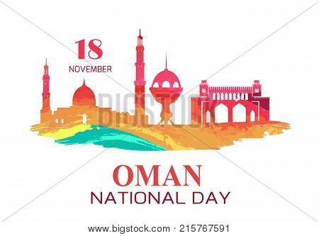 Oman National Day symbol with silhouettes of mosque and city towers, traditional architectural objects vector illustration on white in bloody colors