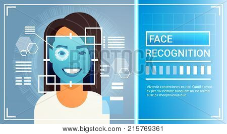 Face Recognition System Eye Retina Scanning Of Woman, Biometric Identification Technology Access Control Concept Vector Illustration