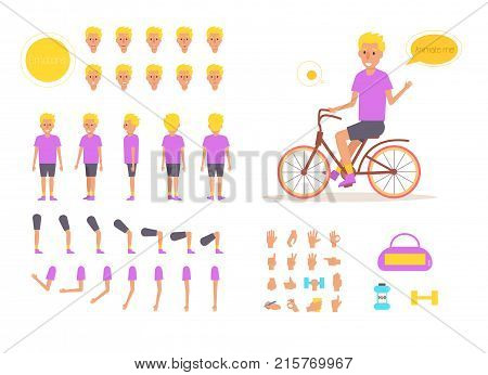 Sport man for animation. Poses front, rear, side, three quarter. Creation set. Collection of emotions. Vector. Cartoon. Isolated art on white background. Flat. Different positions of the hands