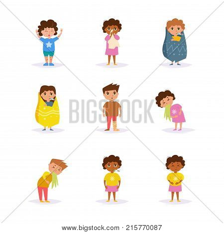 Sick children. Vector. Cartoon. Isolated art on white background Flat