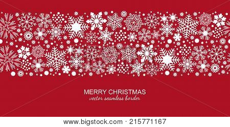 White seamless snowflake border isolated on red background, Christmas design for postcard or greeting card. Vector illustration, merry xmas snow flake header or banner, wallpaper or backdrop