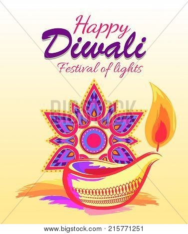 Happy diwali festival of lights, promotional poster representing calligraphy title and icons of mandala and diya vector illustration isolated on white