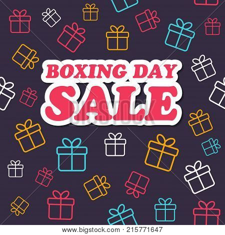 Vector sale card. Boxing day promotion. Gift boxes pattern