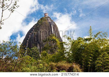 Monolithic stone mountain at Antioquia Guatape Colombia