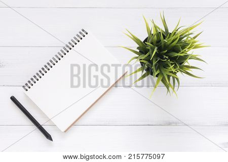 Minimal work space - Creative flat lay photo of workspace desk. White office desk wooden table background with open mock up notebooks and pens and plant. Top view with copy space flat lay photography.